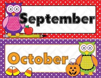 Calendar Months Owl Polka Dot Hobo Stitched Colorful Classroom Theme Set