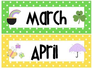 Polka Dots- Calendar Months