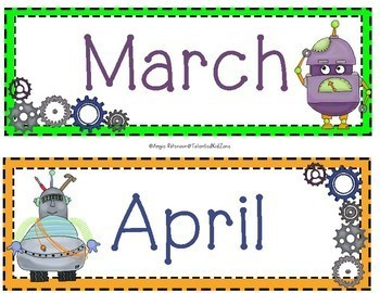 Back to School Calendar Headers Robots and Gears!  STEAM / STEM Theme