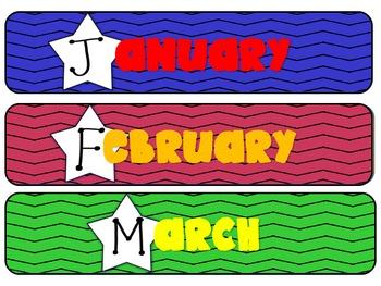 Calendar Months Rock Star Themed