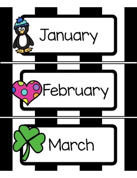 Calendar Months - Sports, Football, or Black and White Striped Theme