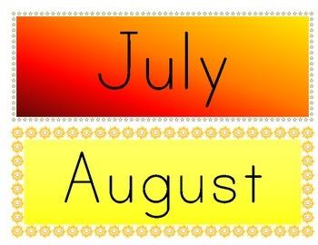 Calendar Months (Themed)