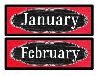 Calendar Months - Vintage Schoolhouse Chalkboard Theme