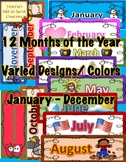 Calendar Months YEAR ROUND PNG FORMAT Varied colors and DESIGNS
