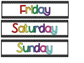 Calendar Months and Days Signs