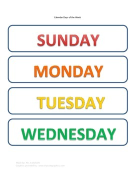 Calendar Months and Days of the Week