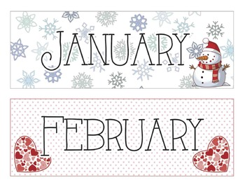 Calendar Months and Number Printables