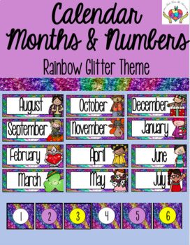 Calendar Months and Numbers Rainbow Glitter Theme