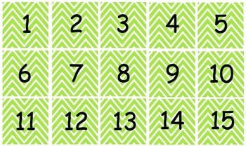 Calendar Months and Numbers in Chevron Theme in 10 colors
