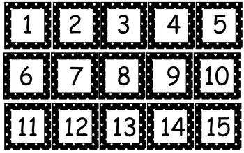 Calendar Months and Numbers in Polka Dot Theme in 11 colors