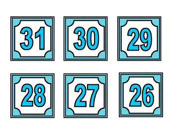 Calendar Months and Numbers labels Complete sets (4 color sets)