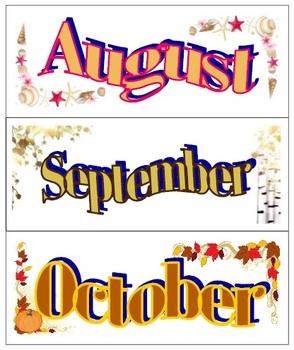 Calendar Months for bulletin boards