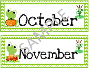 Calendar Months in the Year Cards (FROG THEME)