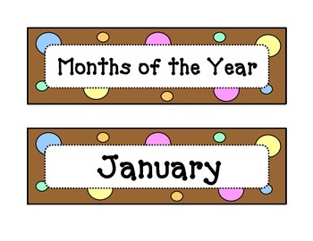 Calendar - Months of the Year - Dots & Pastel, Chocolate Brown Theme - w/Header