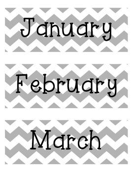 Calendar: Months of the Year Gray Chevron Themed Classroom Jan.-Dec.
