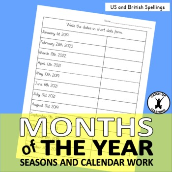 Months of the Year No Prep 4 Posters 7 Worksheets USA & UK Format