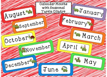 Calendar Months of the Year with Seasonal Turtles