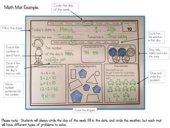 Calendar Morning Math Mats - Set 1