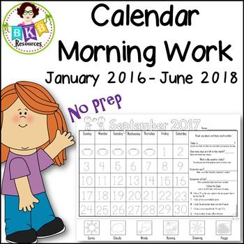 Calendar Math ● Calendar Morning Work ● No Prep ● Printables