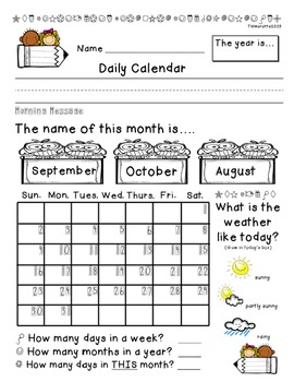 Calendar Morning Work Pages for 2015-2016 School Year
