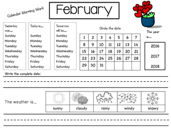 Calendar Morning Work/Monthly