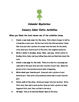 Calendar Mysteries January Joker By Ron Roy Comprehension Packet