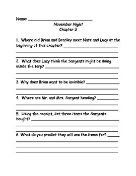 Calendar Mysteries November Night comprehension questions