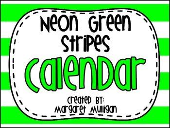 Calendar - Neon Green Stripes