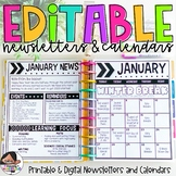 Calendar & Newsletter Bundle   Chunky Chevron Design   Distance Learning