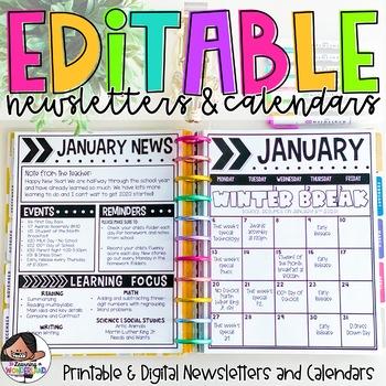 Calendar & Newsletter Template Bundle {Upper Grade Edition}