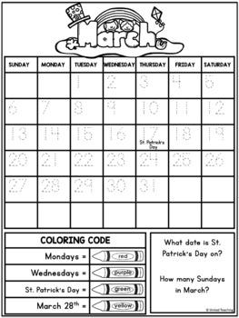 Calendar No Prep Activity Pages