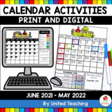 Calendar No Prep Activity Pages