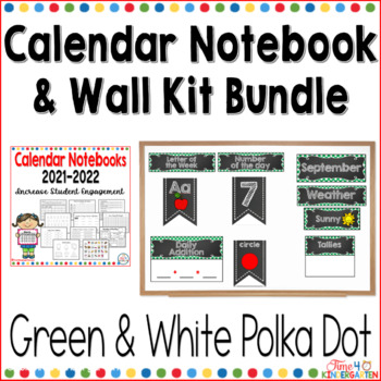 Calendar Notebook and Wall Kit Bundle Green and White Polka Dot 2017-2018