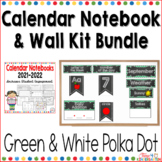 Calendar Notebook and Wall Kit Bundle Green and White Polka Dot 2018-2019