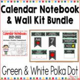 Calendar Notebook and Wall Kit Bundle Green and White Polka Dot 2018-2019