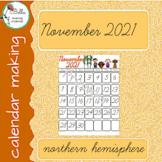 Calendar November - Cursive - North Hemisphere