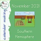Calendar November - Cursive - South Hemisphere