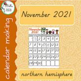 Calendar November - D'Nealian - North Hemisphere