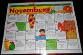 Calendar November & January Laminated 21 X 16 Writing Prompts/Activities Squares