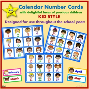 Calendar Number Cards, Kid Style