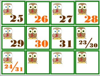 Calendar Number Cards, Back-to-School Theme