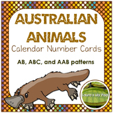 Calendar Number Cards Australian Animals Theme