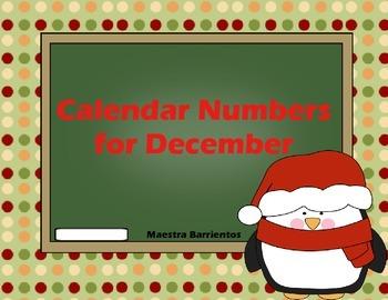 Calendar Number Cards - December