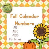 Calendar Number Cards Fall Theme