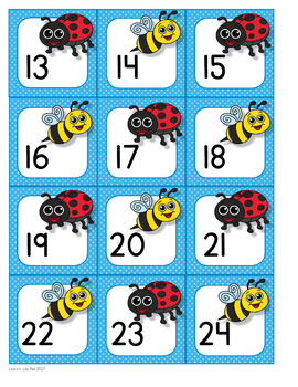 Calendar Number Cards Insects Theme