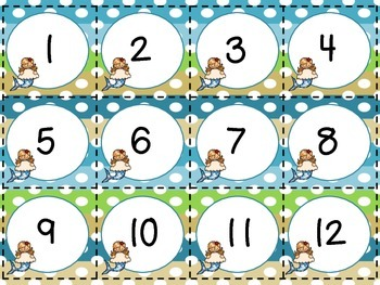 Calendar Number Cards-Mermaids