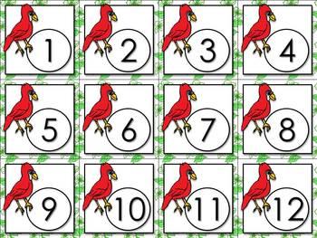 Calendar Number Cards - Numbers 1-31 - Cardinals Theme