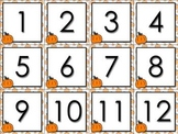 Calendar Number Cards Numbers 1-31 Pumpkin Fall Festival Thanksgiving Halloween