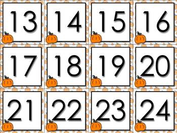 Calendar Number Cards Numbers 1-31 Pumpkin Fall Festival Thanksgiving Halloween