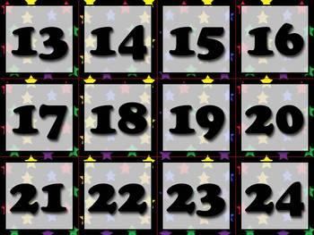 Calendar Number Cards - Numbers 1-31 - Superstars Theme - King Virtue